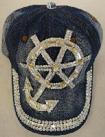 Denim Hat with Bling [Anchor & Wheel] Silver